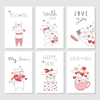 Draw vector set card for valentine's day with cute animal.