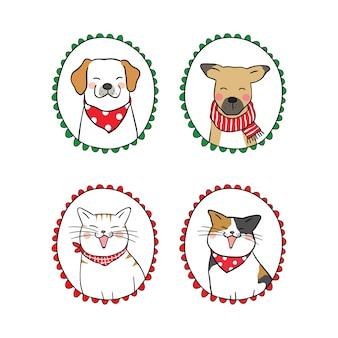 Нарисовать векторный набор портрет кошка и собака в винтажной рамке