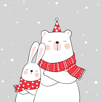 Draw white bear and rabbit with beauty scarf in snow for winter