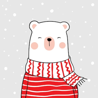 Draw white bear with beauty scarf in snow for winter season