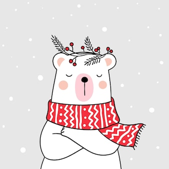 Draw white bear with beauty sweater in snow for winter season