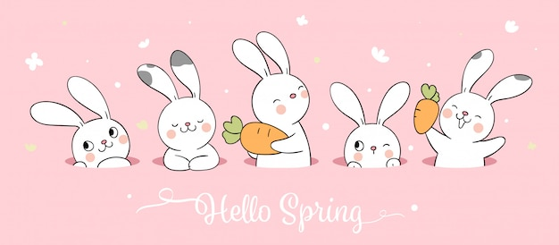 Draw white bunny on pink pastel for spring season.