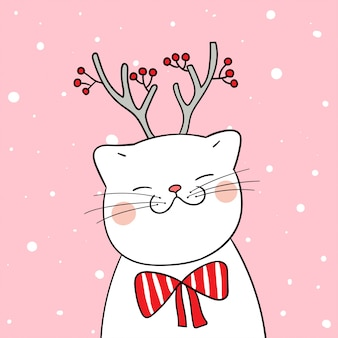 Draw white cat with beauty scarf in snow for winter season