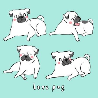 Draw white pug dog doodle cartoon style
