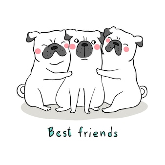Draw white pug dog hug with love and word best friend