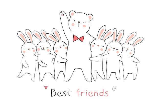 Draw white rabbit and bear hug and word best friends.