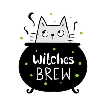 Draw witches brew and cat in magical cauldron for halloween.