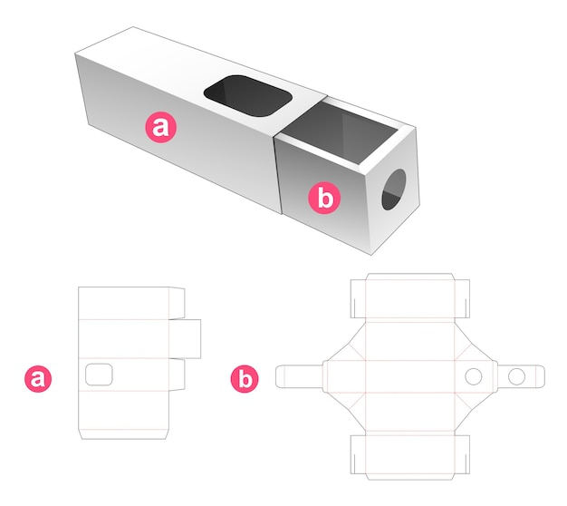 Drawer box and cover which have window display die cut template