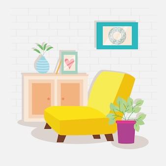 Drawer and yellow sofa scene