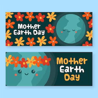 Drawign of mother earth day banner collection