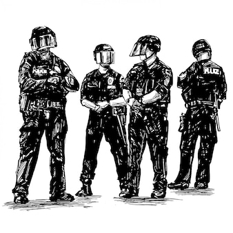 Drawing of 4 policemen are standing in america