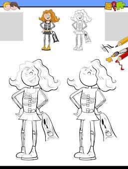 해골 의상을 입은 소녀와 함께 그리기 및 색칠 교육 활동