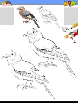 Задание рисования и раскраски с персонажем сойки птицы