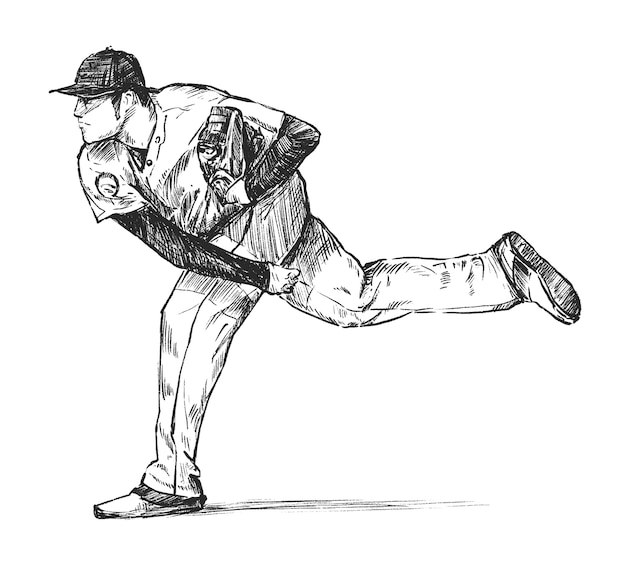 Drawing of the baseball player hand draw