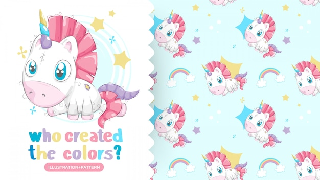 Drawing of beautiful unicorn with patterns background