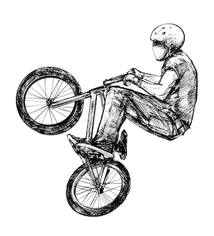 Drawing of the bmx bicycle rider is jumping