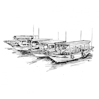 Drawing of the the boat at port in vietnam hoi an