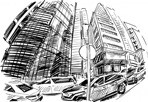 Drawing of the building in hong kong hand draw