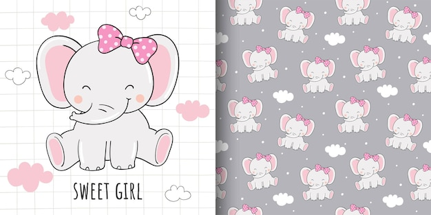 Drawing of card and print pattern sweet elephant for fabric textiles kids