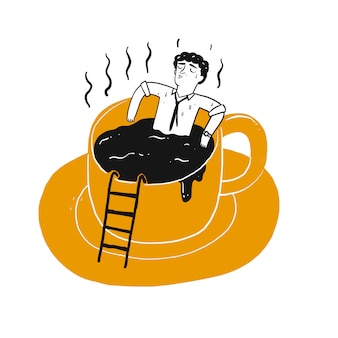 The drawing character a man in cup of coffee.