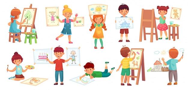 Рисование детей. детский иллюстратор, детский рисунок играет и рисует детский групповой мультфильм