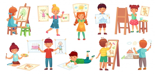 Drawing children. kid illustrator, baby drawing play and draw kids group cartoon