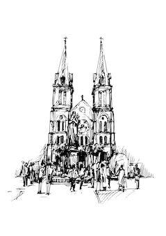 Drawing of church in ho chi min city vietnam