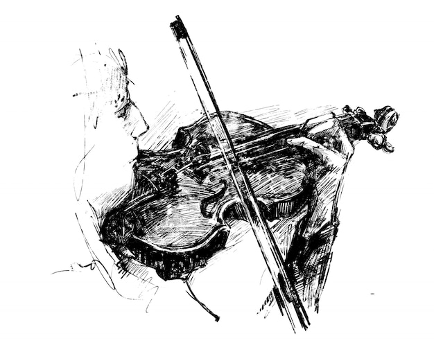 Drawing of the classical musician plays instrument hand draw