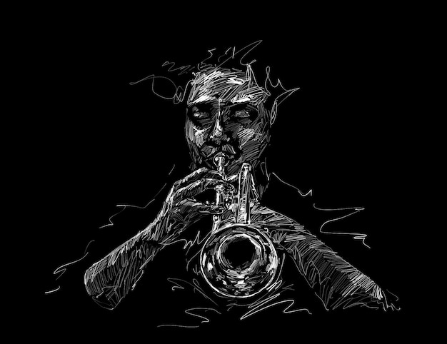 Drawing of the classical musician plays trumpet hand draw