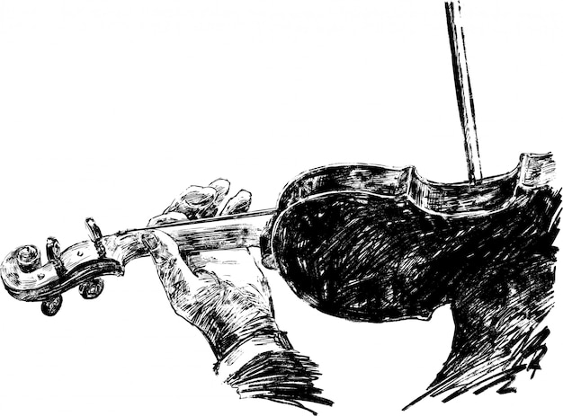 Drawing of the classical musician plays violin hand draw