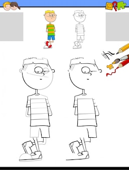 Drawing and coloring activity with boy character