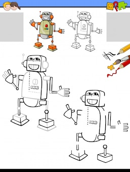 Drawing and coloring educational activity with robot