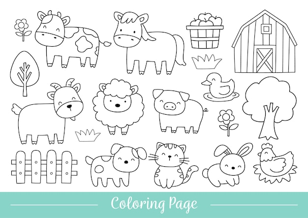 Drawing of coloring page happy animals farm doodle cartoon style