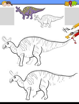 Drawing and coloring task with lambeosaurus dinosaur