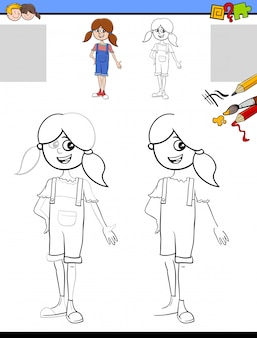 Drawing and coloring worksheet with girl