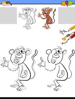 Drawing and coloring worksheet with monkey