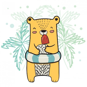 Drawing cute yellow bear with life ring having strawberry popsicle ice cream in summer time