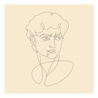 Drawing of david made in one continuous line. vector illustration.