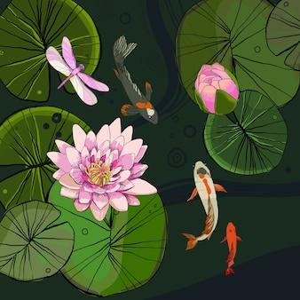 蓮の花のつぼみで装飾的な池のテンプレートを描く魚やトンボの葉