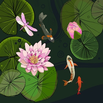 Drawing decorative pond template with lotus flower bud leaves fishes and dragonfly