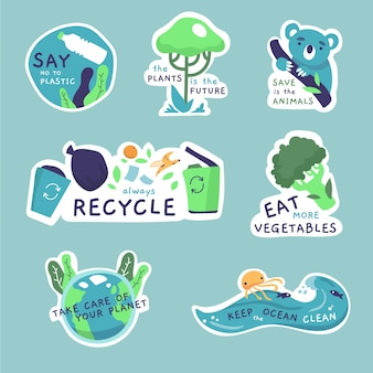 Drawing of ecology badges collection