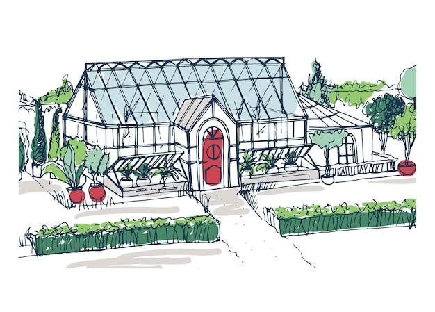 Drawing of elegant glasshouse building with red entrance door surrounded by bushes and trees growing in pots