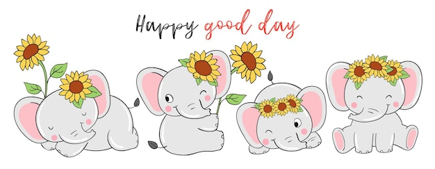 Drawing of elephant with sunflower for baby shower