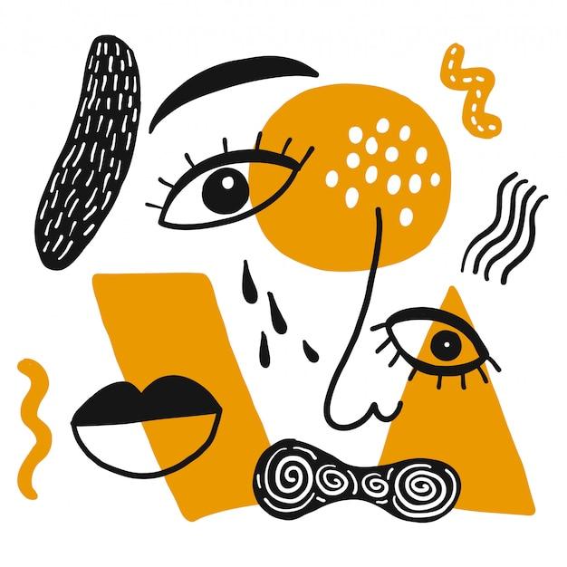 Drawing eye, nose, mouth