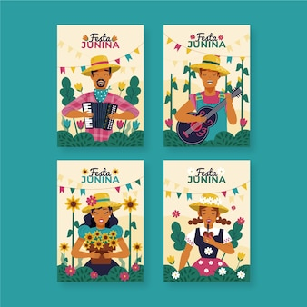 Drawing festa junina card collection concept
