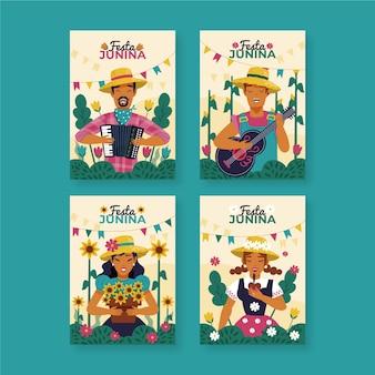 Рисование концепции коллекции карт festa junina