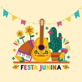 Drawing of festa junina concept