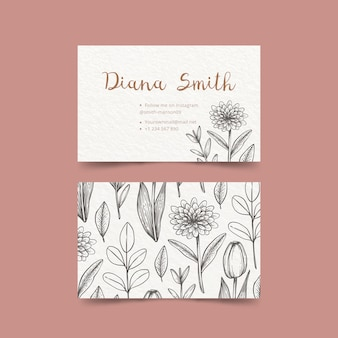 Drawing of floral business card template