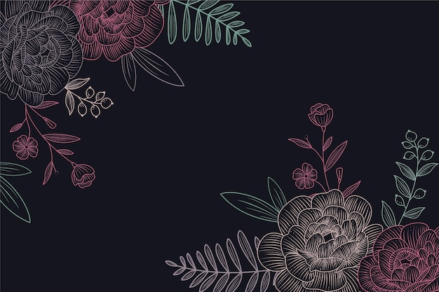 Drawing of flowers on blackboard background design
