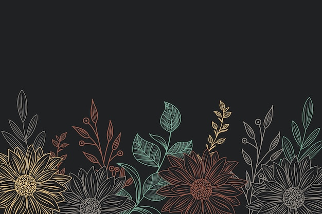 Drawing of flowers on blackboard background theme